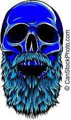 illustration of hipster skull with mustache and beard.