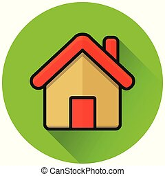 home circle green flat icon