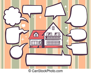 illustration of home with speech comics bubbles on color