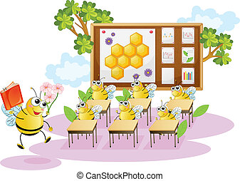 honey bees in a classroom - illustration of honey bees in a ...