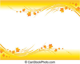 Illustration of horizontal yellow autumn frame, maple leaves and cereals stems with copy-space for your text