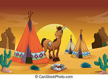 horse and tent house - illustration of horse and tent house...