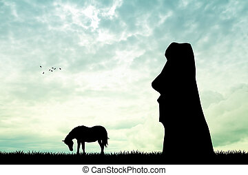 horse on Easter Island at sunset