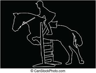horse race silhouette - vector