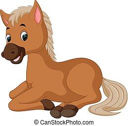 horse sitting cartoon - illustration of horse sitting...