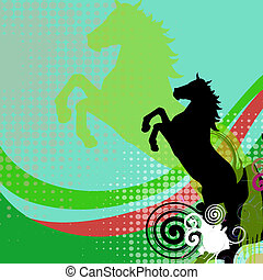 Illustration of horse with abstract background