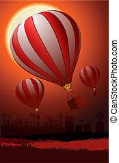 illustration of hot air balloon flying in sky