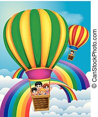 hot air balloons flying with happy kids and rainbow scene