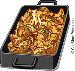 baked roasted potatoes - illustration of hot baked roasted...