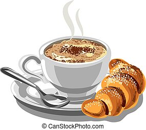 illustration of hot cappuccino coffee and croissant