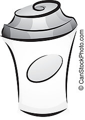 Illustration of Hot Coffee Tumbler in Black and White