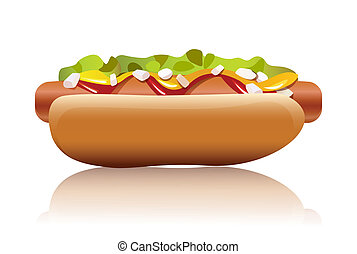 hot dog - illustration of hot dog on white background