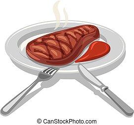 hot grilled beefsteak - illustration of hot grilled ...
