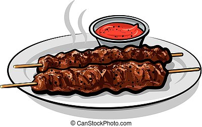 kebabs with sauce - illustration of hot grilled kebabs with...