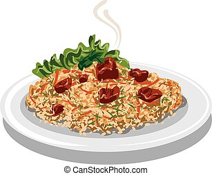 illustration of hot pilaf with rice, lamb meat and carrot on plate