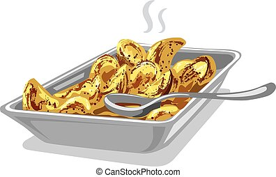 roasted cooked potatoes in plate