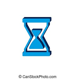 Illustration of hourglass icon on white backgroundisometric. 3d sign isolated on white background.
