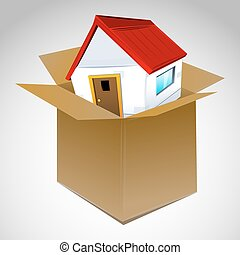 illustration of house in box