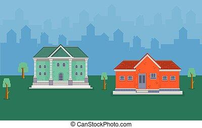 Illustration of house landscape on hill