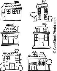 Illustration of house set hand draw