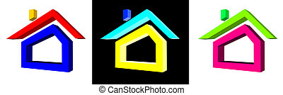 illustration of house symbols for real estate company
