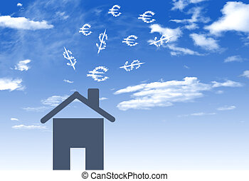 Illustration of house with lots of money embezzlement