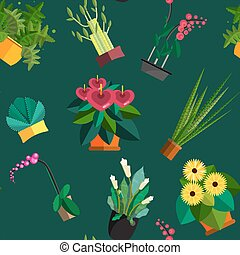 Illustration of houseplants, indoor and office plants in pot. Dracaena, fern, bamboo, spathyfyllium, orchids, Calla lily, aloe vera, gerbera, snake plant, Mother-in-law tongue, anthuriums. Flat plants, vector icon set