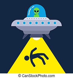 illustration of human abduction by aliens.