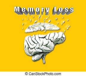 Illustration Of Human Brain Depicting Memory Loss