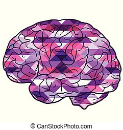 Illustration of human brain with a polygonal background. Side view.