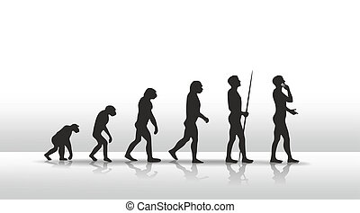 evolution - illustration of human evolution ending with...