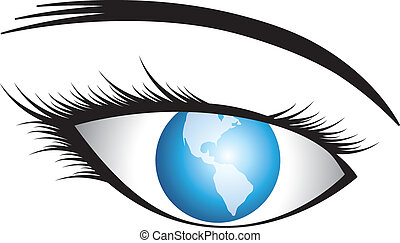 Illustration of human eye with world as iris conceptually representing world vision or universal vision