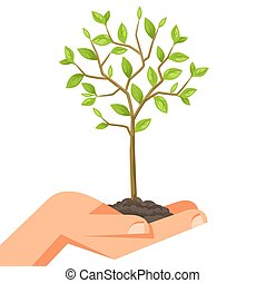 Illustration of human hand holding green small tree. Image...