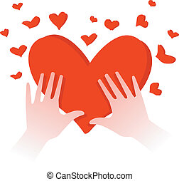 hands with heart - illustration of human hands with heart in...