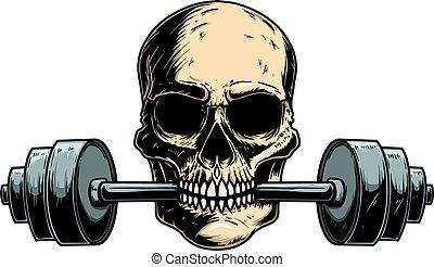 Illustration of human skull with barbell in his teeth. Design element for poster, card, banner, emblem, t shirt. Vector illustration