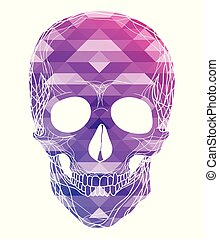 Illustration of human skull with polygonal background. Front view.