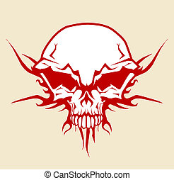 skull - illustration of human skull with tribal fire...