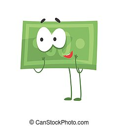 Illustration of humanized green dollar standing isolated on white. Cartoon money character with excited face expression. Flat vector design