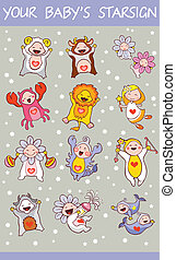 cartoon zodiac horoscope signs set