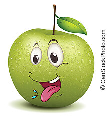 hungry apple smiley - illustration of hungry apple smiley on...