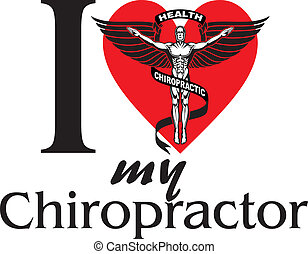 Illustration of I Love My Chiropractor design with black and white graphic style chiropractor symbol or icon.