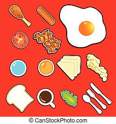 icon breakfast  vector  top view