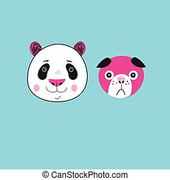 Illustration of icons Panda and dog