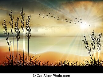 Illustration of Sunrise the beach in the morning