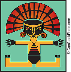 Inca - Illustration of Inca child in black mask and gold hat...