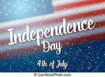 Independence Day of USA Vector Poster. 4th of July American Red Flag on Blue Background with Stars and Confetti