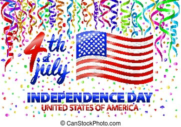 Illustration of Independence Day Vector Poster. 4th of July Lettering. American Red Flag on Blue Background with Stars and Confetti