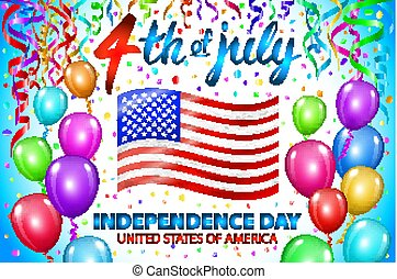 Illustration of Independence Day Vector Poster. 4th of July Lettering. American Red Flag on Blue Background with Stars and Confetti. colorfull ballon