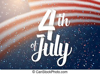 Independence Day Vector Poster. 4th of July Paper Lettering. American Red Flag on Blue Background with Stars and Confetti