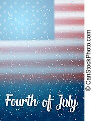 Independence Day Vector Poster Template. 4th of July Lettering. American Flag on Blue Background with Stars and Confetti Effect